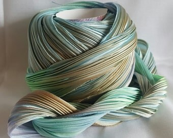 1 yd Shibori Ribbon Hand Dyed Silk Ribbon Abalone Shibori Girl