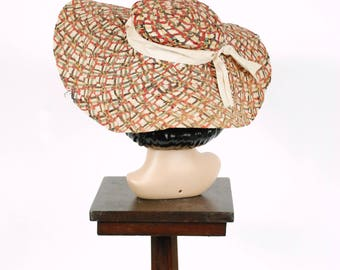 Vintage 1930s Hat - Dramatic Multi-Colored Straw Wide Brim Floppy 30s Sunhat with Summery Plaid and Grosgrain Hat Band