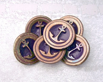 Rustic Anchor Buttons, 22mm 7/8 inch - Antiqued Gold Tone w/ Purple Metal Ship Anchor Buttons - VTG Retro Mod Nautical Anchor Buttons MT103