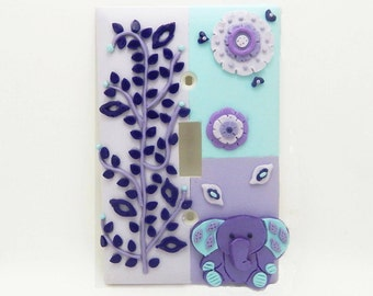 Elephant, Medallions, Floral Light Switch or Outlet Cover - Lilac, Lavender, Aqua, Turquoise - Elephant Nursery Toggle or Rocker Cover