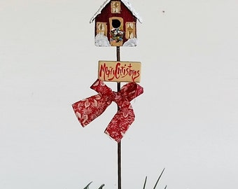 Red Metal Birdhouse Plant Poke , Hand Painted , Christmas Design
