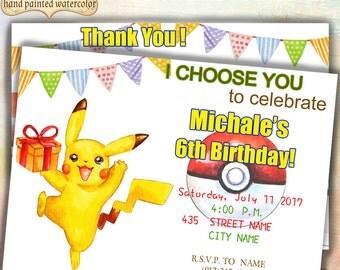 SALE Hand Drawn Pokemon Birthday Party Invitation. Poke Ball Invitation. Pikachu Invitation. 5x7. Printable. kids boys girls,Party Favors