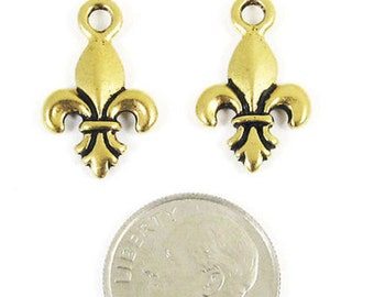 TierraCast Pewter Charms-Antique Gold FLEUR DE LIS 13x19mm (2)