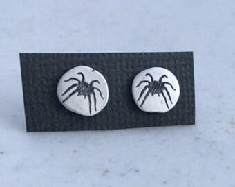 Spider studs, sterling silver