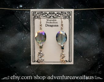 Dragon earrings with crystal bead - silver metal dangle charm asian chinese luck neverending story falkor haku spirited away serpent
