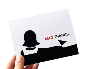 mad men thank you cards set, retro thank you cards, blank inside thank you cards, mad men card, greeting cards