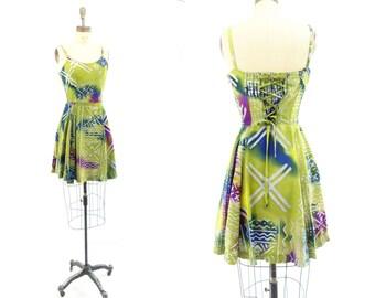 Boho Mini Dress 90s Skater Dress Lime Green Dress Boho Festival Dress Mini Hippie Dress Purple Green Dress Spaghetti Strap Summer Dress s