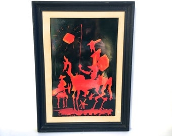 Mid Century Don Quixote Oil Painting ~ Abstract original painting ~ Dynamic Black & Red vintage art piece ~Framed