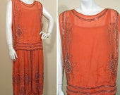 RESERVED 1920s Coral Beaded Silk Chiffon Party Dress SZ S