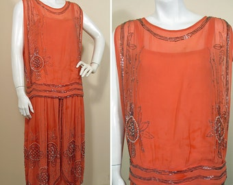 1920s Coral Beaded Silk Chiffon Party Dress SZ S