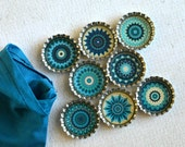 Kaleidoscope Bottlecap Magnets- Pretty Blue and White Kitchen Magnets- Blue Floral Mandala Magnets- Gift For Her- Set of 8- Gift Under 15