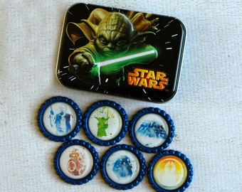Star Wars Bottlecap Magnets with Gift Tin- Yoda, Hans Solo, BB8, Darth Vador- Watercolor Star Wars Fridge Magnets- SciFi Gift, Gift For Him