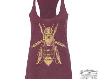 Women's HONEY hand screen printed Tri-Blend Racerback Tank Top xs s m l xl xxl  (+Colors)