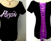 Poison Band Concert Off Shoulder Corset  Rhinestone Crystal Tee T Shirt Top