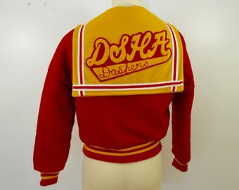 Vintage DSHA DASHERS Divine Savior Holy Angels letter jacket WOOL usa made milwaukee wisconsin
