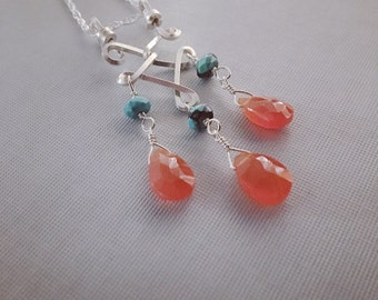 Carnelian Turquoise Necklace / Silver Stone Necklace / Silver Wire Wrapped Pendant / Sterling Silver Pendant / Silver Carnelian Pendant
