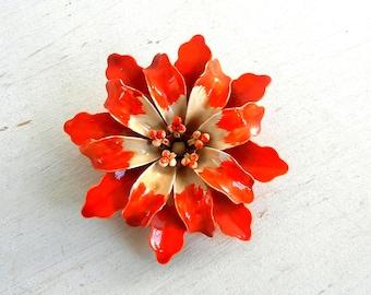 Enamel Flower Brooch   Enamel Flower Pin   Vintage Flower Pin   Enamel Jewelry   Vintage Jewelry