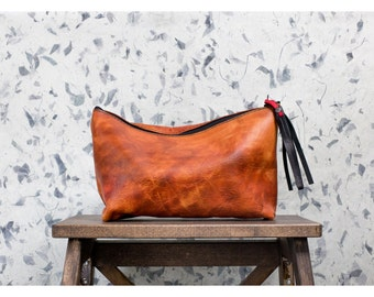 CANYON CLUTCH Natural Cow Leather Cognac Pouch with Fringe Tassel from Chicago USA