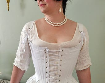 Front Lacing Stays 1780's Georgian Corset Historical 18th Century Colonial Costuming Marie Antoinette - Ready to Ship Standard Sizing