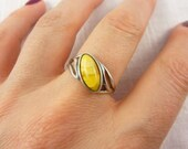 Vintage Sterling Butterscotch Amber Ring Size 9