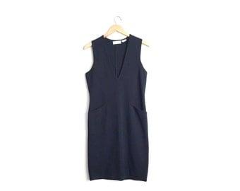 Size XS // DEEP V-NECK Dress // Black - Wool - Sleeveless Midi Jumper - Pinafore - Minimalist - Vintage '80s.