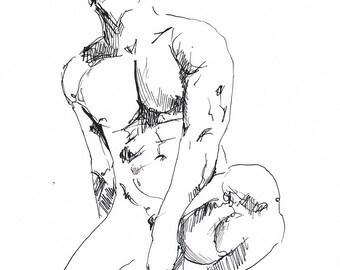 Gestural Ink Drawing #1  - Expressive Ink on Paper by Artist Brenden Sanborn