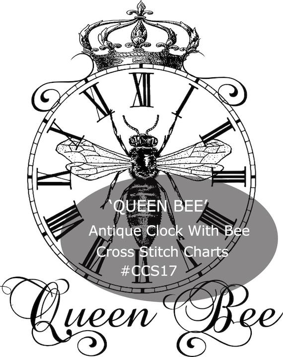 Queen Bee Cross Stitch Kit  Antique Clock Cross Stitch KIT  Bee Cross Stitch Kit --Custom Design Durham Deals-- #CCS17-- MAILED KIT