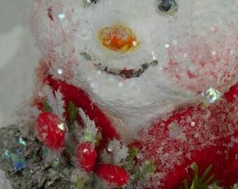 One of a Kind sculpted paper mache Winter Holiday Snowman folk art