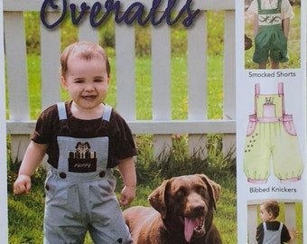 Sew Beautiful Collection Kids Overalls Pattern Jack & Jill Overalls Kids Size 12 months to 6 years Smocked Short Bibbed Knickers Pattern