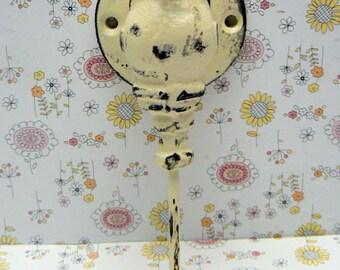 Faucet Spigot Cast Iron Industrial Wall Hook Cream Off White Shabby Style Chic Man Cave  Leash Jewelry Coat Hat Keys Bathroom Key Towel Hook