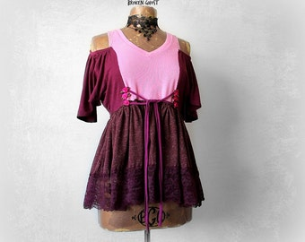 Off Shoulder Romantic Top Boho Chic Shirt Altered Clothing Empire Waist Pink Blouse Womens Art Clothes Cold Shoulder Ruffle Shirt S M 'WREN'