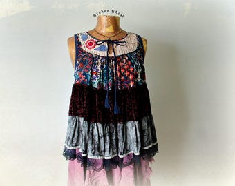 Shabby Gypsy Shirt Velvet Layered Top Boho Style Clothing Women Country Blouse Eco Friendly Tank Upcycle Clothes Artsy Smock Top M L 'MOLLY'