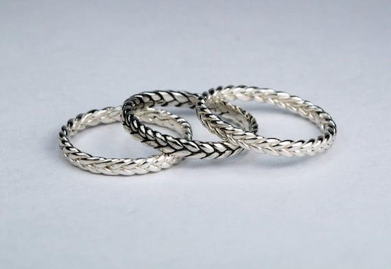 Sterling Silver Thin Braid Ring