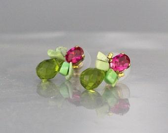 Gift for Women, Pink Green Stud Earrings, Colorful Stud Earrings, Stud Earrings, Unique Posts, Pink Gifts, Colorful Earrings, Unique Studs