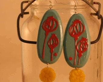 Papercut poppy decoupaged earrings