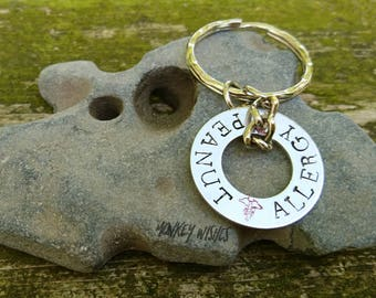Allergy Medical Detail Washer Keyring Hand-stamped Aluminium