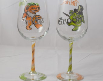 Grateful Dead Theme Dancing Bears Bride and Groom Hand Painted Wine Glasses Can be Personalized at no extra cost