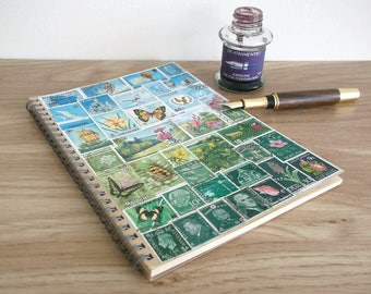 Travel Notebook Planner | Upcycled Postage Stamp Art A5 Dot Grid Journal | Blue Green Whimsical Landscape, Summer Meadow Flowers Butterflies