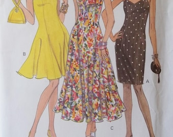 Vogue 8314 Sewing Pattern, Easy to Sew Misses' Slip Dress, Flared or Tapered Skirt in 3 Lengths, Sundress, High Fashion Size 12 - 16 UNCUT