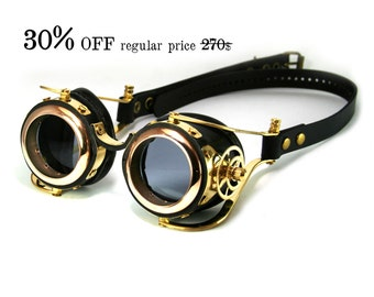 STEAMPUNK GOGGLES black leather polished brass gears FLEX Solid Frames