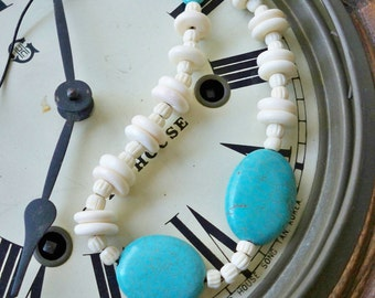 Turquoise and white bone beads Necklace - Handmade - Black leather cord - Boho chic style - Bohemian - One of a Kind - bycat