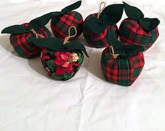 Christmas Fabric Apples, Rustic Country Handmade Christmas Decor, Apple Ornament, Apple Decor, Teachers Apple