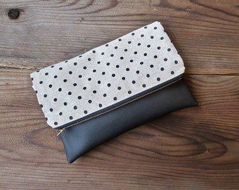 Linen and Black Polka Dot Foldover Clutch