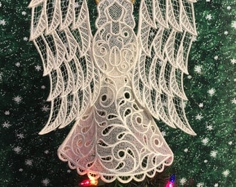 Victorian Lace Angel Tree Topper in Ivory