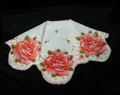 """Vintage 1960's 16"""" Pink Roses Floral Wedding Favor, Banner, Pocket Square Handkerchief - 9841"""