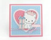 Girls birthday card, kitty cat, kitten,  kids birthday card, PERSONALIZED card, childrens birthday
