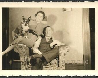 Boston Terrier Dog & Family - 1930s Snapshot Photograph
