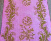 Vintage Pink and Olive Green Rose and Scrolls Retro Bath Towel