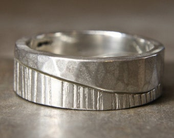 Walk On The Hills curvy linking two ring set. Recycled sterling silver. Hand made in the UK.