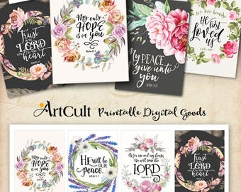 """Printable download BIBLE VERSES TAGS No.12 Scripture Art eight 2.5""""x3.5"""" size hang tags digital collage sheet greeting cards ArtCult designs"""